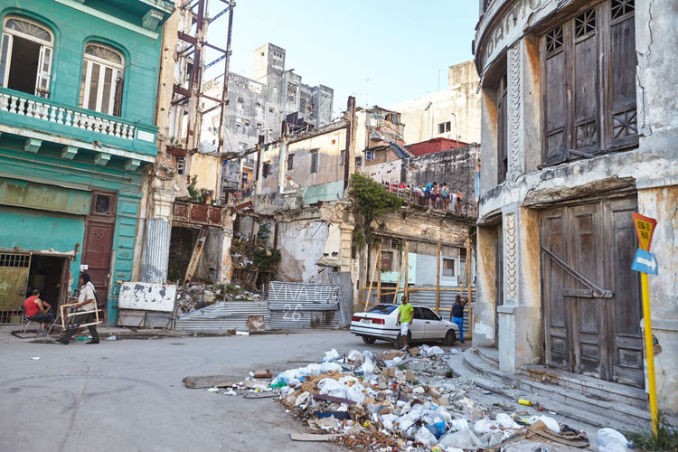 Architecture Building Exterior Built Structure City Cuba Collection Day Delapidated Garbage Havana No People Outdoors Residential Building Trash