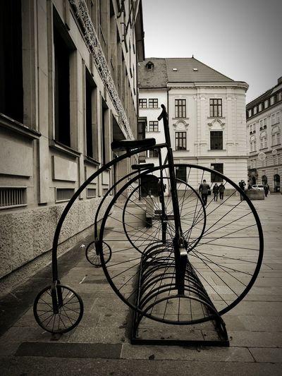 Bicycle Mode Of Transport Outdoors Transportation Land Vehicle Black & White Monochrome Sculpture Bratislava, Slovakia Bratislava City! EyeEm Best Shots - Black + White