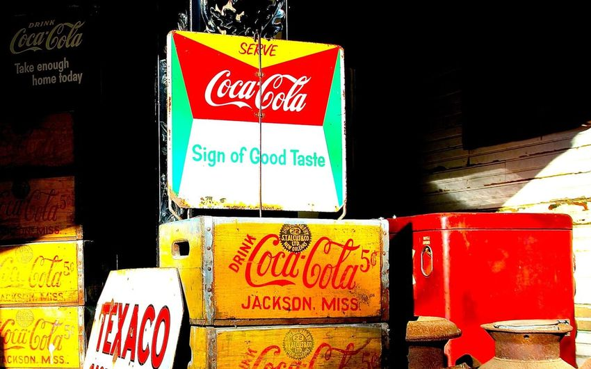Coca Cola Coca Cola *-* Coca Cola Life Coca Cola ✌ Coca Cola ❤️ Coke Coke Collection Coke Crates Crates Crates, Boxes, Wood, Wooden, Cargo Drinks Multi Colored No People Old Crates Old Signs Old Stuff Old Style Old Style Brings Back Memories  Red Sign Signs Vintage Yellow