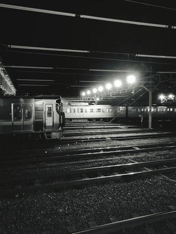 ( ´ー`)フゥー... Transportation Night Public Transportation Railroad Station