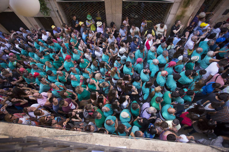 High angle view of people standing outdoors