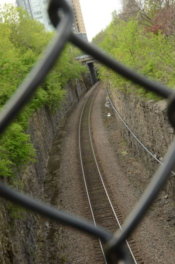 Trillium Line (railroad tracks) Ottawa, Canada Canada Chainlink Fence Day No People Ottawa Outdoors Railroad Track Railway Track Selective Focus The Way Forward Train Tracks . Tranquil Scene Tranquility Tree Trillium Line, Ottawa Vanishing Point