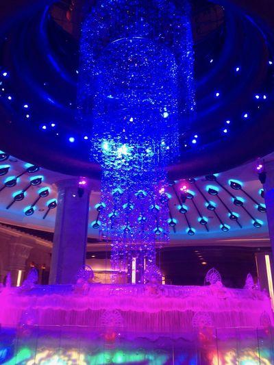 Casino Macao  Fontain Galaxy Casino Illuminated Indoors  Macau Night No People