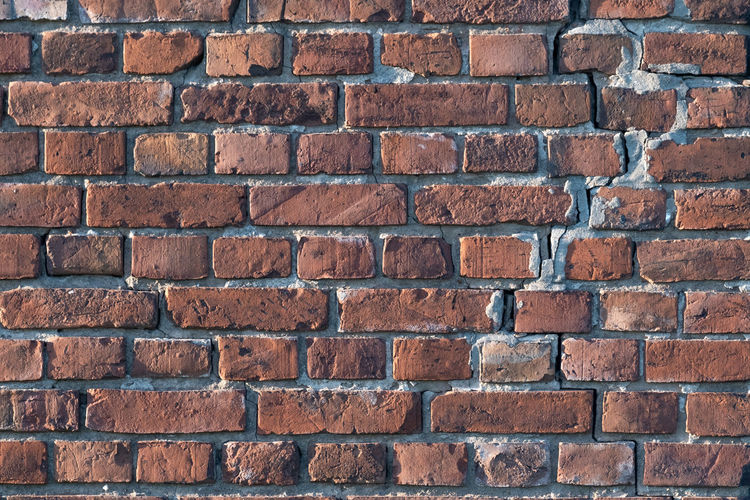 Brick Wall Brick Wall Wall - Building Feature Architecture Full Frame Backgrounds Built Structure Pattern Textured  No People Red Brown Construction Material Building Exterior Old Day In A Row Close-up Outdoors Textured Effect Stone Material Side By Side Stone Wall Copy Space