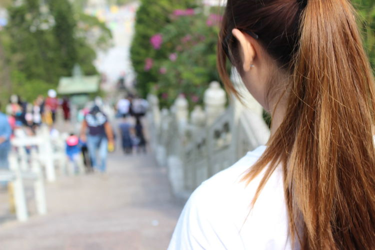 Long Hair Brown Hair One Person Headshot Only Women One Woman Only Women Adults Only Close-up Rear View Adult Outdoors People Beauty Real People Day Young Adult Young Women Tian Tan Buddha (Giant Buddha) 天壇大佛 HongKong Staircase Travel Photography Travel Destinations Adult