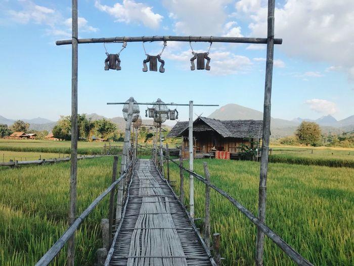 Walkway amidst field against sky