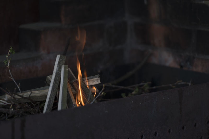 Close-up of fire on log