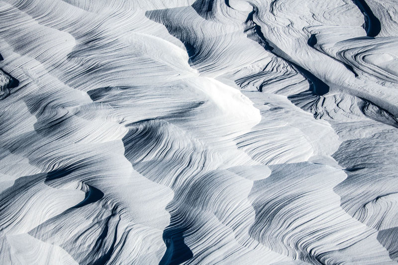 High angle view of snow patterns