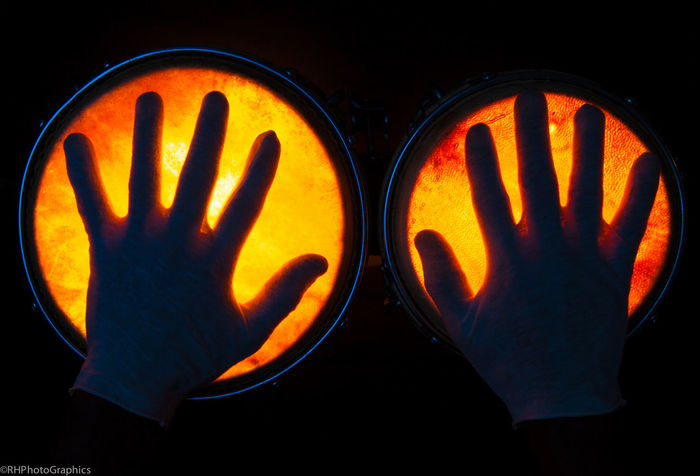 BONGO HANDS on fire Backlight Bongo Drum Contrast Contrasting Colors Drums Gloves Hands Percussion Instrument The OO Mission Fine Art Photography Fine Art