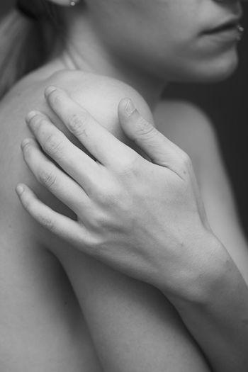 Portrait Model Blackandwhite Human Hand Young Women Women Human Skin Fingernail Human Finger Close-up Shoulder Human Neck Body Part Natural Beauty