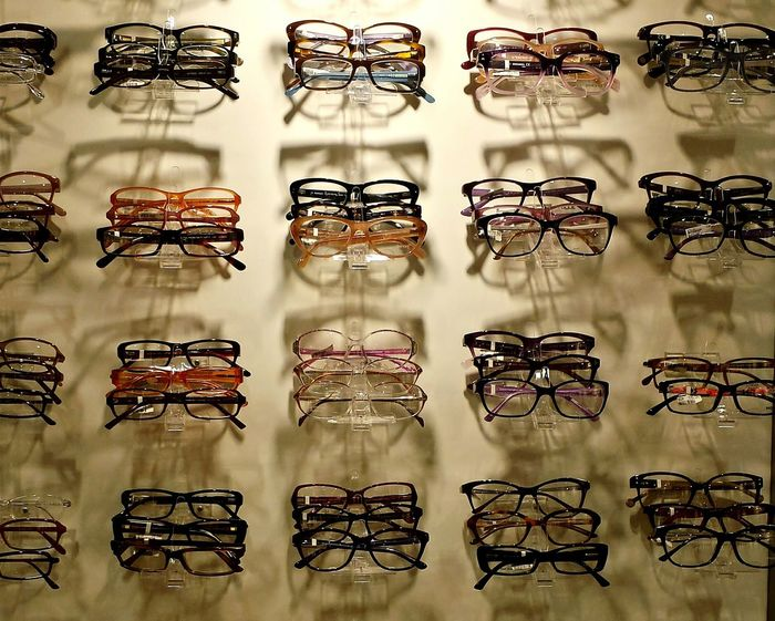 Shelf with Eye Glasses New Glasses Fashion Glasses Beliebte Fotos At The Opticians  Presentation Of Optical Glasses Presentation Shelf Light And Shadows Light And Shadow Your Choice... Good Choices So Many Choices...