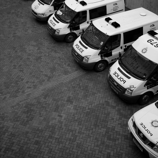 Black And White Black And White Photography Day High Angle View Law Enforcement Law Enforcement Officer No People Police Police Car Police Van