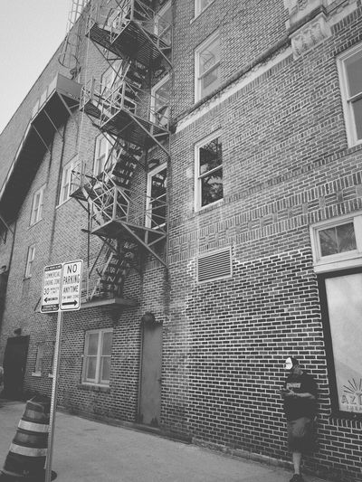 Architecture Built Structure Building Exterior Building Steps Steps And Staircases Staircase Day Outdoors Window Fire Escape No People Streetphotography Blackandwhite Black And White Streetphoto_bw One Man Only One Man Texas San Antonio, Texas
