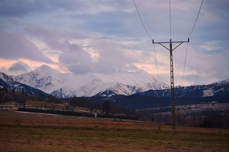 Mountain Snow Cable Sky Landscape Winter Beauty In Nature Nature Power Line  No People Electricity  Electricity Pylon Cold Temperature Outdoors Scenics Day