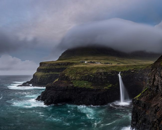 Faroe Islands Waterfall Travel Adventure Faroeislands