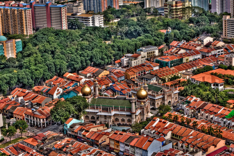 High angle view of sultan mosque