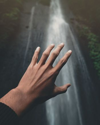 hand and Waterfall INDONESIA Waterfall Waterfalls Hand Hands Moody Moodygrams Moodyphotography Folk Folklore Folkgood Folk Dance Folk Art  EyeEm Selects Human Hand Cold Temperature Fog Hand Close-up