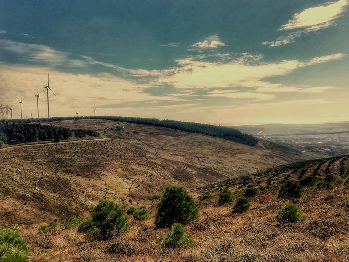 Electricity Pylon Sunset Technology Electricity  Rural Scene Mountain Fuel And Power Generation Agriculture Wind Turbine Sky