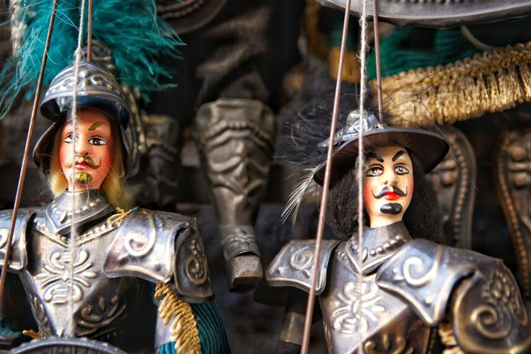 Traditional sicilian puppets used pupi for theatrical performance of marionettes, italy