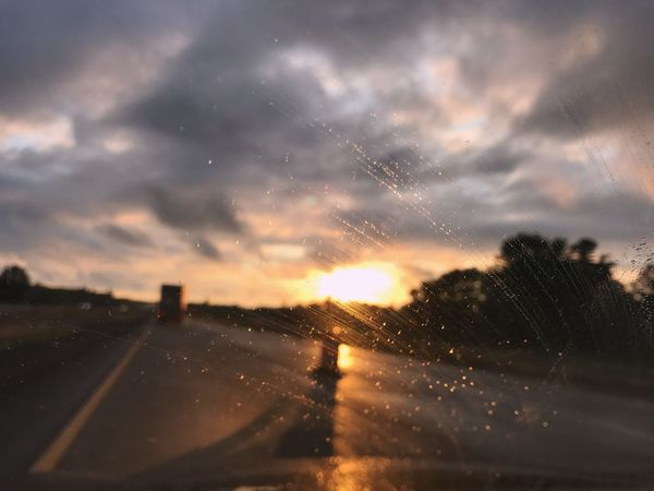 Road Rain Vehicle Interior Weather Wet Transportation Drop Journey Dusk Sunset Sky