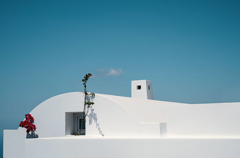 White building against clear blue sky