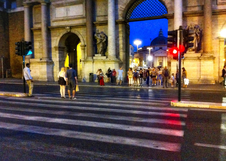 Rome, Italy Sep 2 - 4, 2011 Moving Around Rome Architecture Building Exterior Built Structure Crossing Illuminated Large Group Of People Men Night Outdoors Pedestrian People Real People Roma Walking Women Zebra Crossing Long Goodbye Iphone3g EyeEmNewHere Travel Destinations Cityscape Between Blue Sky EyeEmNewHere Long Goodbye