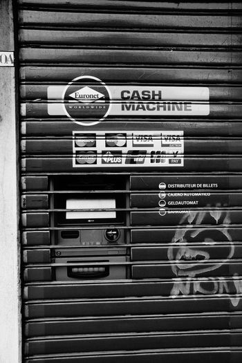 Architecture Architecture_collection Atm Automat Blackandwhite Cash Machine City Close-up Façade Graffiti Information Information Sign Security Street Photography Streetphotography The Architect - 2016 EyeEm Awards The Photojournalist - 2016 EyeEm Awards The Street Photographer - 2016 EyeEm Awards Unusual Monochrome Photography