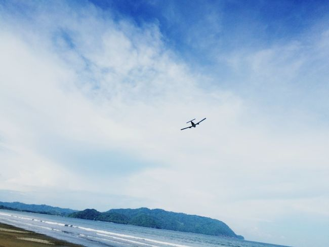 Airplane Flying Air Vehicle Mountain Sky Transportation Cloud - Sky Outdoors Day No People Beach Costa Rica Costa Rica❤ Playa Tambor