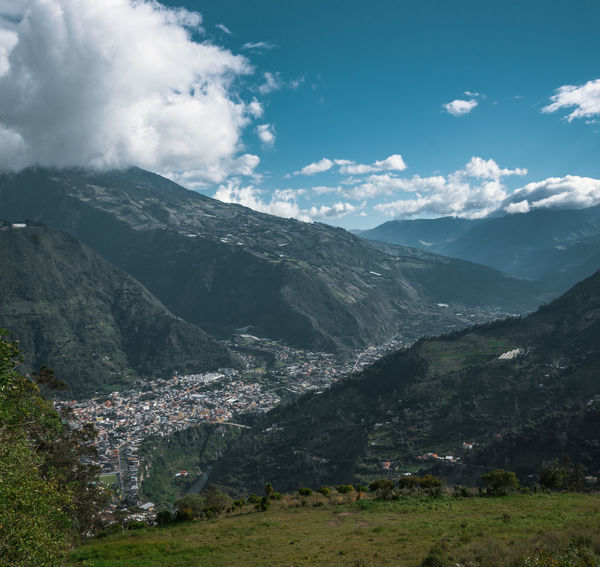 The beatiful town right inbetween the mountains - Baños. Mountain Sky Environment Cloud - Sky Landscape Nature No People Day Mountain Range Scenics - Nature Beauty In Nature Outdoors Mountain Peak South America Latin America Explore Discover  Adventure Valley Travel Non-urban Scene Grass Town Travel Destinations Hike