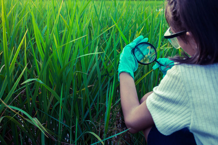 Woman Looking At Grass Through Magnifying Glass On Field