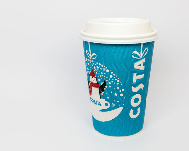 A paper cup of Costa Coffee Christmas edition Studio Shot Indoors  Still Life Blue Drink Cup No People Food And Drink Close-up Single Object Container Disposable Mug White Background Disposable Cup Paper Cup Costa Rica Coffee Costa Coffee Christmas