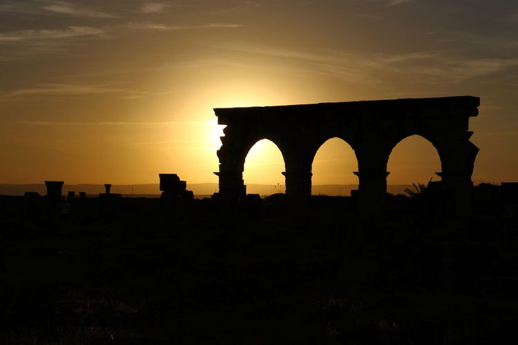 Ancient Ancient Architecture Ancient Ruins Morrocco Silouette & Sky Sunset Orange Sky