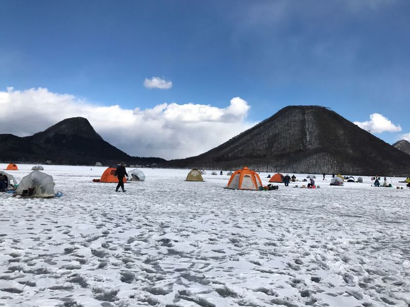 Sky Nature Mountain Beauty In Nature Non-urban Scene Scenics Tranquility Snow Weather Day Outdoors Tranquil Scene Landscape Cold Temperature Winter Salt - Mineral No People Haruna Lake Wakasagi fishing flozen Cloud - Sky Sand