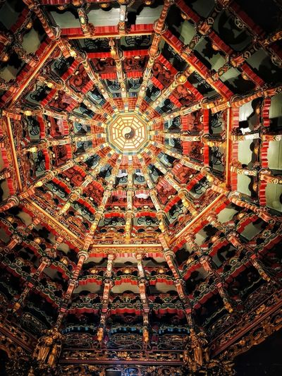 Temple Temple Architecture Illuminated Backgrounds Full Frame Pattern Ornate Design Hanging Decoration Close-up
