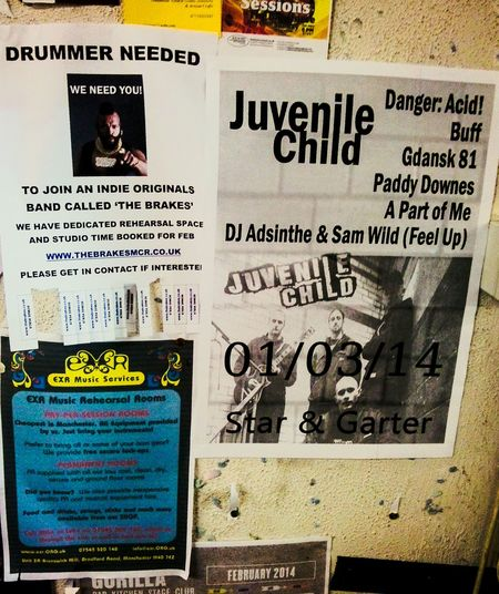 Notice board from Chase music, shop, Manchester city centre. Promotional poster for the self-promoted headline gig by Juvenile Child at The Star & Garter, Manchester. We smashed it. To the left a poster for the band I left because they wouldn't stop selling tickets for other promoters, fakes. Music Shop Notice Board Posters Music Posters Promo Poster Promo Bands Rock Music Gigs Indie Music Manchester Music Manchester