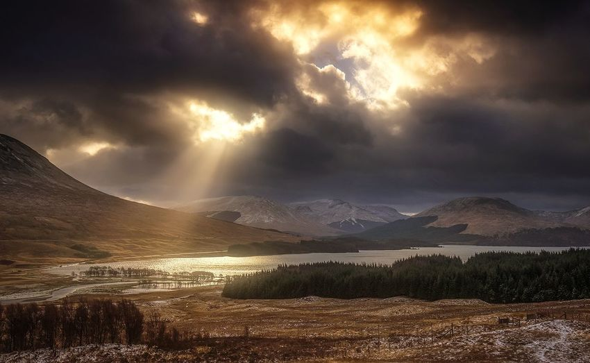 Loch Tulla, Scotland Mountain Landscape Sunset Scotland Landscape_photography Mountains And Valleys Scotland 💕 Reflection Loch  Light Sunlight Storm Cloud Nikonphotography Sunsetporn Tree_collection