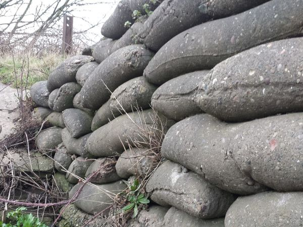 Old Methods Stackedup Sand Bag Concrete Overgrown Unusual Find Wall