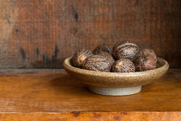 Close-up of chocolate in bowl on table