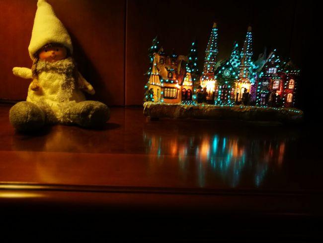 Night Christmas Illuminated Christmas Decoration Holiday - Event Statue Christmas Lights