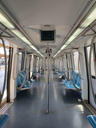 Empty vehicle seats in train