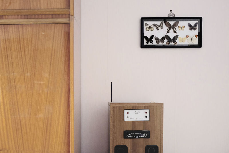 Antique Butterfly Calm Communication Dead Door Indoors  Interior Interior Decorating Interior Design Interior Views Old-fashioned Radio Relax Retro Styled Softness Stereo Technology Text Time Wall Wall - Building Feature Wood - Material