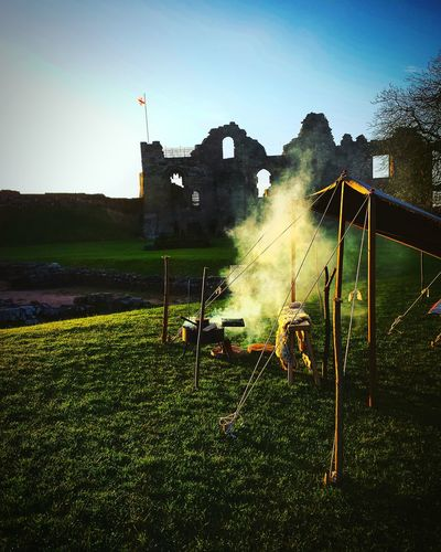 Tutbury Castle Medieval Reenactment Castle Ruin Early Morning Visit Staffordshire Beautiful Picture Campfire