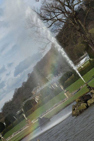 Rainbows in fountains Tree Nature No People Beauty In Nature Outdoors Day Road Sky Tranquility Landscape Scenics Water Rainbow Colour Chatsworth House