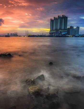 Sunrise Muara Angke EyeEmNewHere EyeEm Best Shots Landscape Cloud - Sky Built Structure Cityscape Outdoors Sea Modern No People Water
