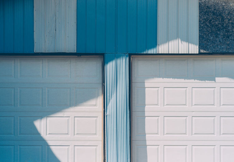 Blue Building Built Structure Close-up Day Doors Exterior Garage Outdoors Shadows TakeoverContrast