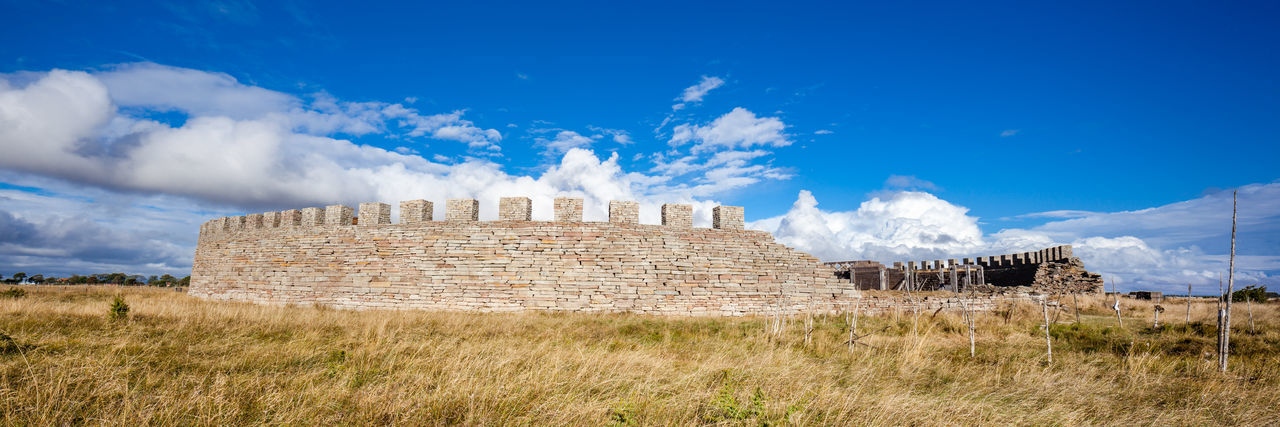 View Of Old Ruins Against Blue Sky