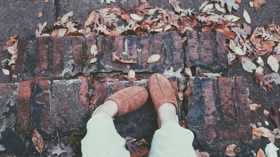 EyeEmNewHere Day Outdoors Backgrounds Human Body Part People Close-up One Person Shoes Leaves Fall Lifestyles Real People High Angle View Human Leg