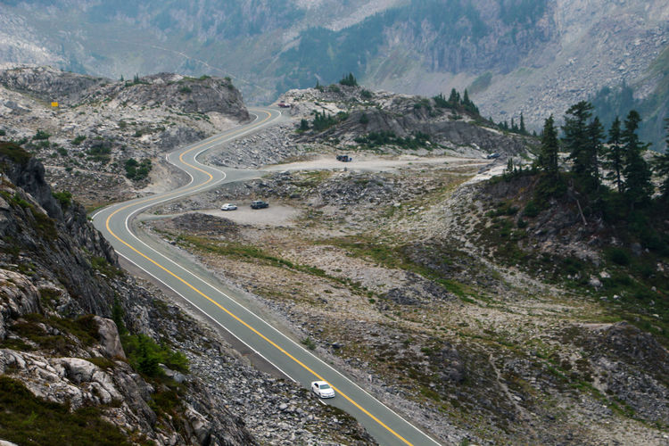 Areal view of winding roads in mountain