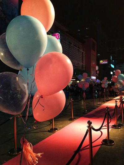 Pink and blue Colour is feeling puppy love😍 😍Rethink Things Night arts culture and entertainment Balloon No People Helium Balloon Film Industry Outdoors Close-up