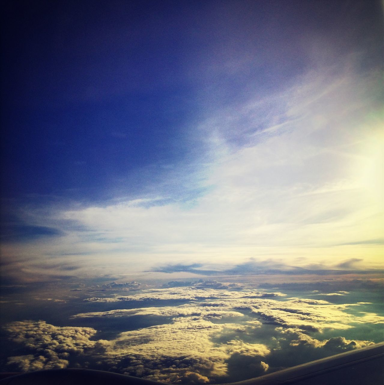beauty in nature, nature, sky, cloud - sky, scenics, cloudscape, no people, tranquility, tranquil scene, blue, outdoors, day, airplane wing